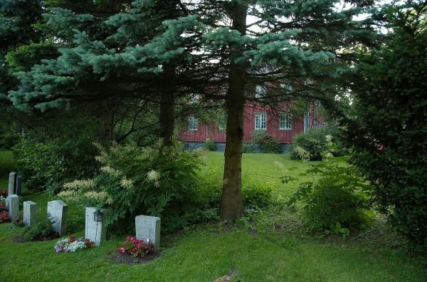 Gjetemyren Gård sett fra kirkegården